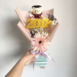 Graduation Bouquet of Gerberas with Baby Breath and Limited Edition 2018