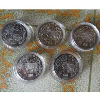 5x 1997 Singapore Lunar Year of the Ox $10 Coin