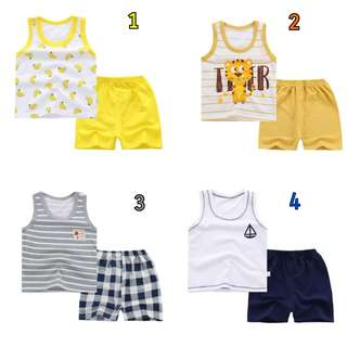 🚚 📮Free Mailing • Baby toddler boy girl summer clothes set sleeveless top cotton bottom comfy homewear casual wear summer beach wear