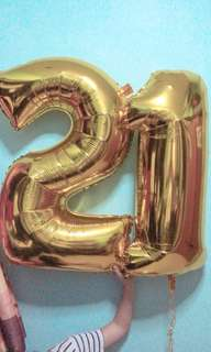 "BN Helium Filled ""21"" 40inch Gold Foil Balloon"