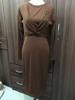 [BRAND NEW] Brown Knitted Formal/Casual Dress