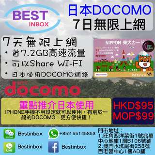 Docomo日本7日7.2GB+無限上網電話卡日本數據卡