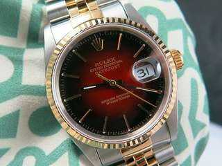 Rolex Datejust Gents Stainless Steel & 18k Yellow Gold (RARE Maroon Vignette Dial) 16233