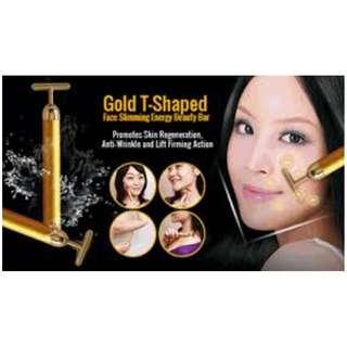Japan 24K Gold Plated Energy Beauty Bar Facial Massage Brand New