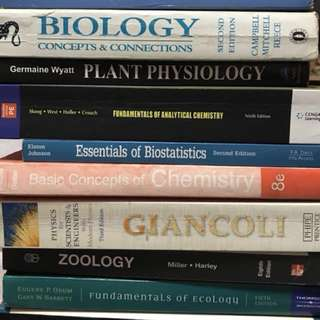 Biology / Chemistry / Physics College Books