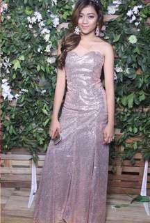 Tube rose gold long gown