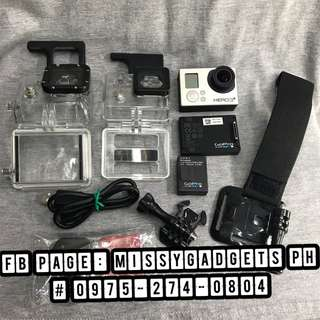 Gopro hero 3+ plus silver edition with gopro battery pack and accessories