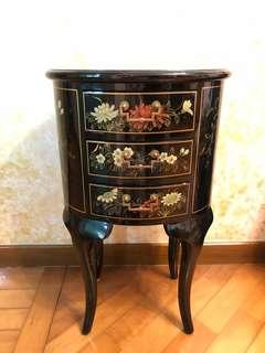 仿古手繪懷舊典雅鵝蛋形三桶櫃