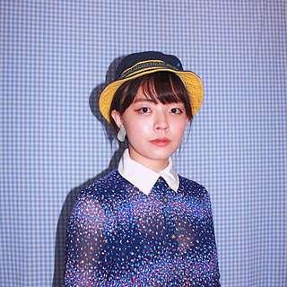 ✼藍色滿天星洋裝✼ 撞色白領子 ドレス 白粉紫幾何碎花 短袖過膝雪紡 百褶裙 dress vintage 日本古着