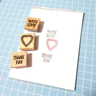 Rubber stamp set - Thank you, With Love