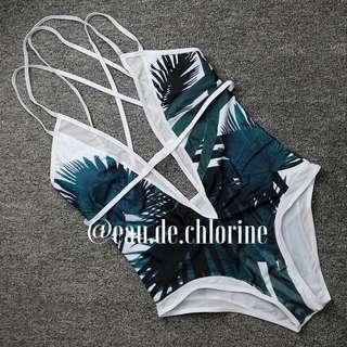 Jackie White And Blue One Piece Swimsuit Monokini Swimwear