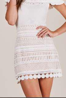 White crochet skirt showpo
