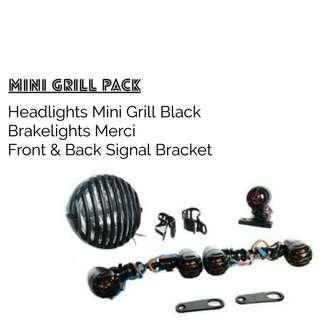 Motorbike/ Caferacer Headlights/ Lamp Mini Gri Pack
