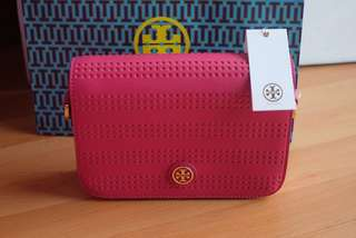 TORY BURCH Robinson Perf Adjustable Shoulder Bag-Poppy Coral