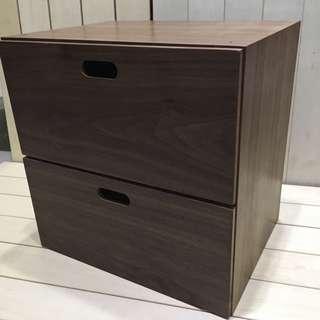🚚 無印良品 MUJI 胡桃木組合收納櫃 抽屜式 可堆疊