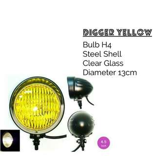 Motorbike/ Caferacer Headlight/ Lamp Digger Yellow
