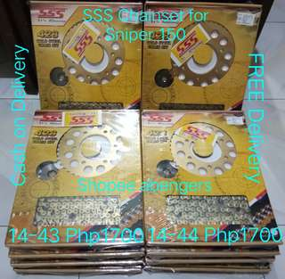 SSS Sprocket Chain Gold Steel Set Yamaha Sniper 150 R15 v2 TFX 150 FZ16