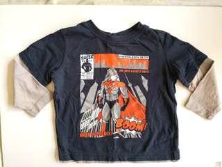 PRELOVED H&T Boy's Superhero Dark Navy Blue Long Sleeves T-shirt - in good condition
