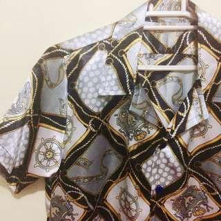 Rare Versace Inspired Vintage Baroque Print Button down Polo