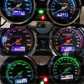 LCD Screen Replacement New Meter Motorcycle Motorbike speedometer speedo Meter colour & T10 bulbs