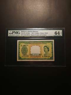 Malaya Queen $5 1953 (PMG64)