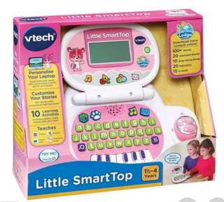 Preloved Vtech Little smart Top. in good working condition. selling for $25. This highly interactive and personalized laptop for toddlers includes 4 modes of play that teach letters, phonics, music, shapes and stories.