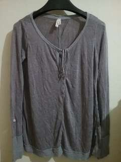 We The Free Outer / Sweater / Sheer Linen Front Tie Henley Top reject - Grey S (Luaran, line of Free People)