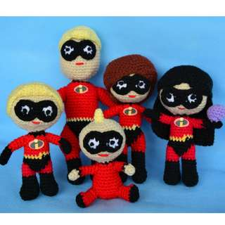 The Parr Family (The Incredibles) Crochet Amigurumi Dolls