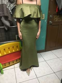 Off shoulder dress long gown evening gown olive green