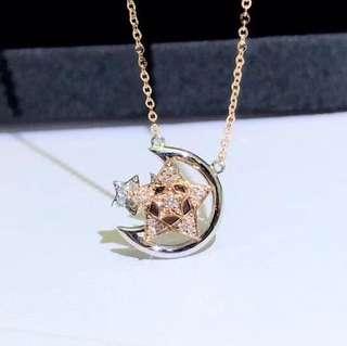 我的月亮星辰🌟可轉動星星18k金天然鑽石頸鏈💫許願幸運星💫🎁閨蜜女朋友生日禮物推薦特別設計