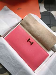 Authentic Hermes Bearn Wallet Rose Azalee (90% new)
