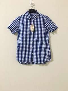 🚚 無印良品 MUJI 格紋短袖襯衫 藍白格紋 S、L