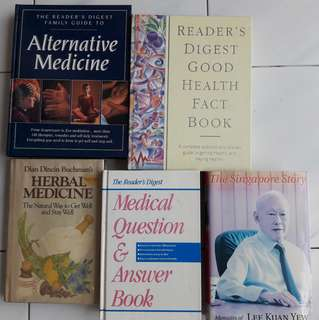 Herbal Medicine Book, Alternative Medicine Book, Medical Q&A Book, RD Good Health Fact Book and LKY Singapore Story