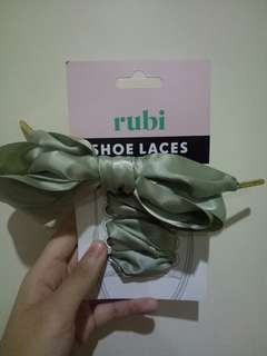 rubi shoelaces - balsam green satin
