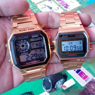 Jam tangan skmei 1335 & 1123 original gold + box