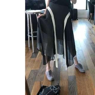 VM 夏季2018新款 暗黑飄逸 黑白雪紡接拼 高腰復古不規則A字長裙