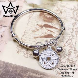 READY STOCK 【Pure Silver】铜钱宝宝足银手镯 Coin Baby Pure Silver Bracelet