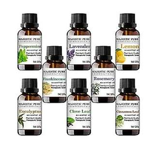 Aromatherapy  Majestic Pure Essential Premium Oils Set, Includes Lavender, Frankincense, Peppermint, Eucalyptus, Lemon, Clove Leaf, Cinnamon Leaf & Rosemary Oils,  10 ml each