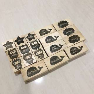 Customised rubber stamps (name in silhouette)