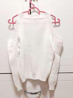 White Knitted Long Sleeve Top