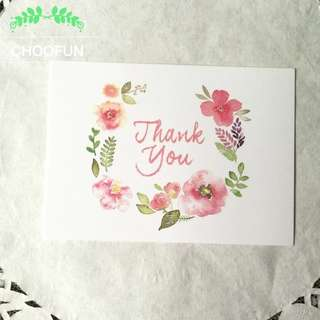 (Pre-order) NEW 25 pieces Thank you floral wreath watercolour card (Teacher's Day)