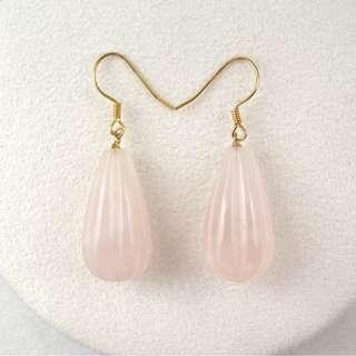 Rose Quartz S925 silver earring