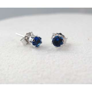 S925 silver earring with CZ 純銀仿藍寶耳環
