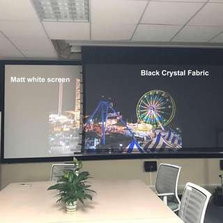 black projector screen