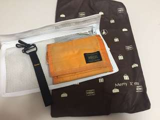 Porter Tokyo 橙色銀包連配件連袋(100% real)