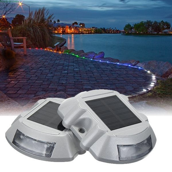 2pcs Solar LED Pathway Driveway Lights Dock Path Step Road Safety Lamps -  WHITE