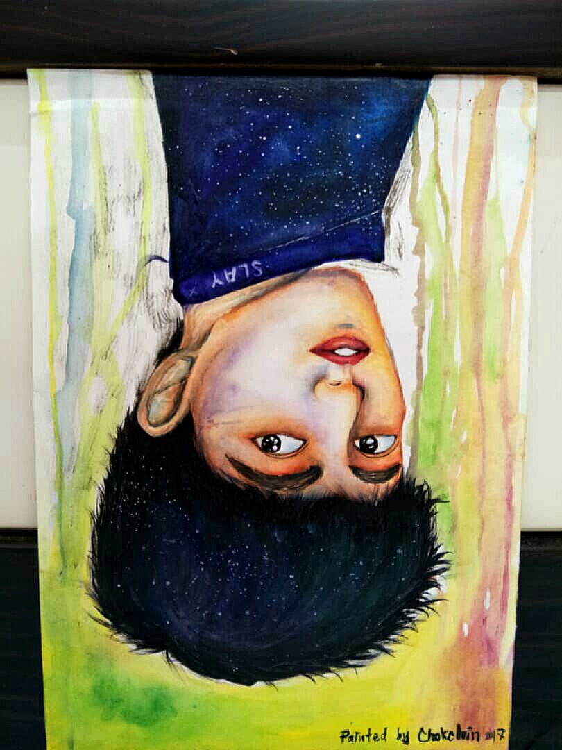 Talent painting upside down