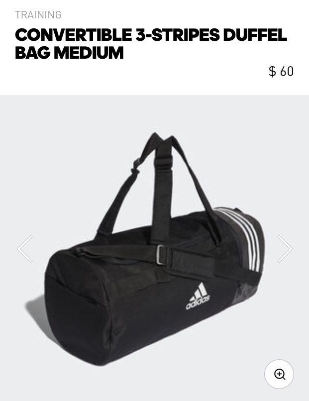 6bd1ab53d36 Adidas Convertible 3-Stripes Duffel Bag (Medium)