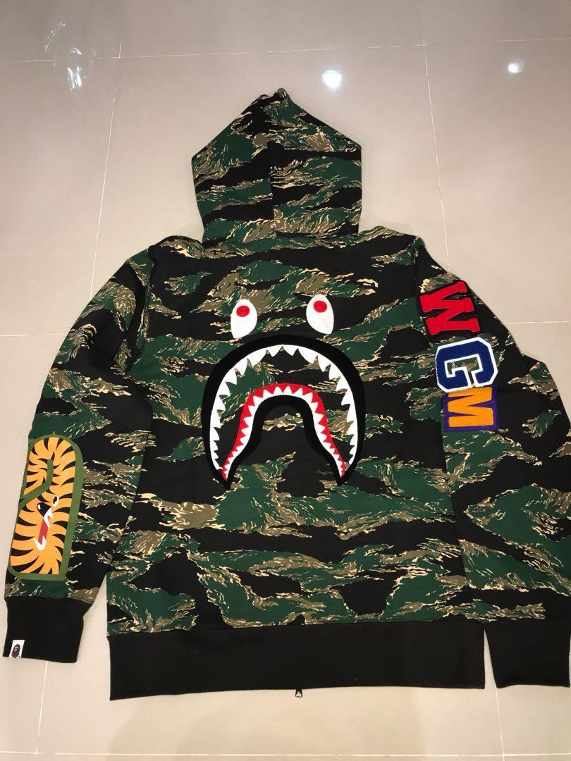 07179573492b Bape Full Zip Shark Hoodie Woodlands Camo Rare