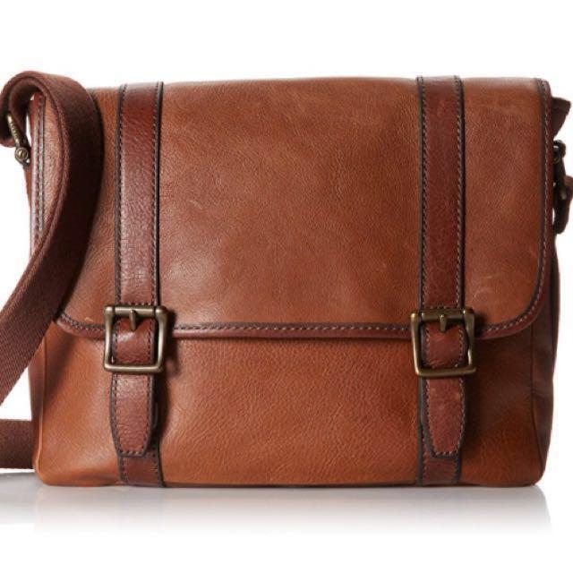 4566f5c86c BNWT Fossil Estate Leather Messenger Bag (Cognac), Men's Fashion ...